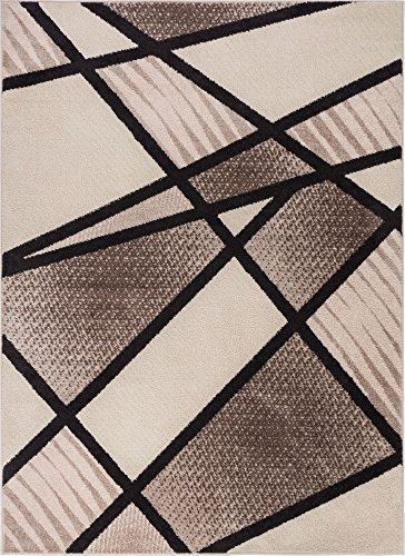 Soho Beige Rug Rug - Well Woven Soho Brown & Beige Modern Geometric Boxes Stripes Triangles 5x7 (5' x 7') Area Rug