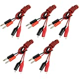 uxcell 5 Pcs 1M Long AV Banana Jack Connector to Dual Tester Alligator Clip