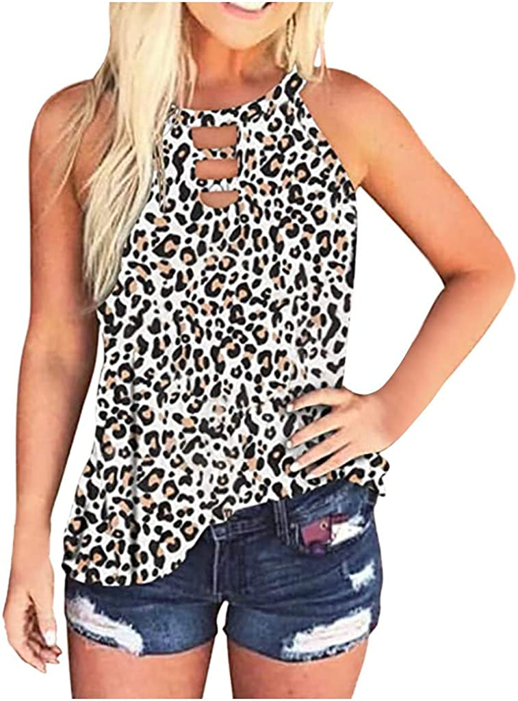 Xinantime Womens Hipster Vest Leopard Print Sleeveless Tank Tie-Dye Top Casual Summer Blouse Shirts
