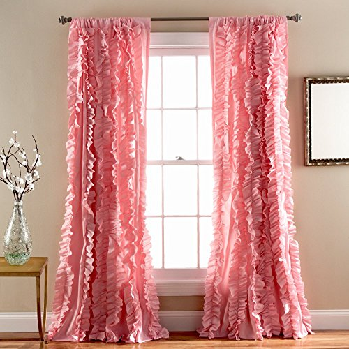 Lush Decor Belle Window Curtain Panel, 84 x 54″, Pink