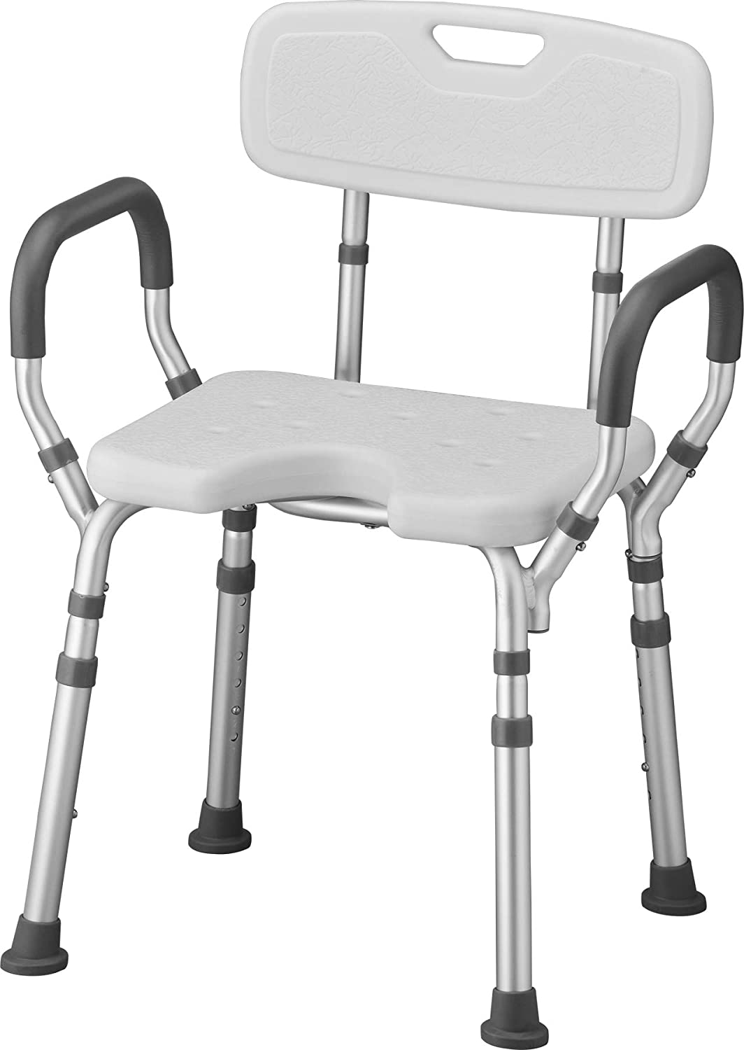 NOVA Shower & Bath Chair with Back & Arms & Hygienic Design, Quick & Easy Tools Free Assembly, Lightweight & Seat Height Adjustable, Great for Travel: Health & Personal Care