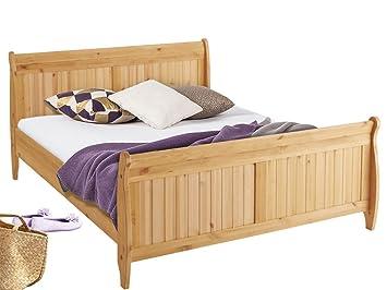 REMY Bett Doppelbett Bettgestell Bettrahmen Kiefer Massivholz Gebeizt Geölt  Landhaus, 140 X 200 Cm