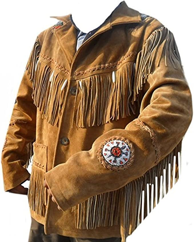 Men Brown Suede Western Cowboy Leather Jacket With Fringe