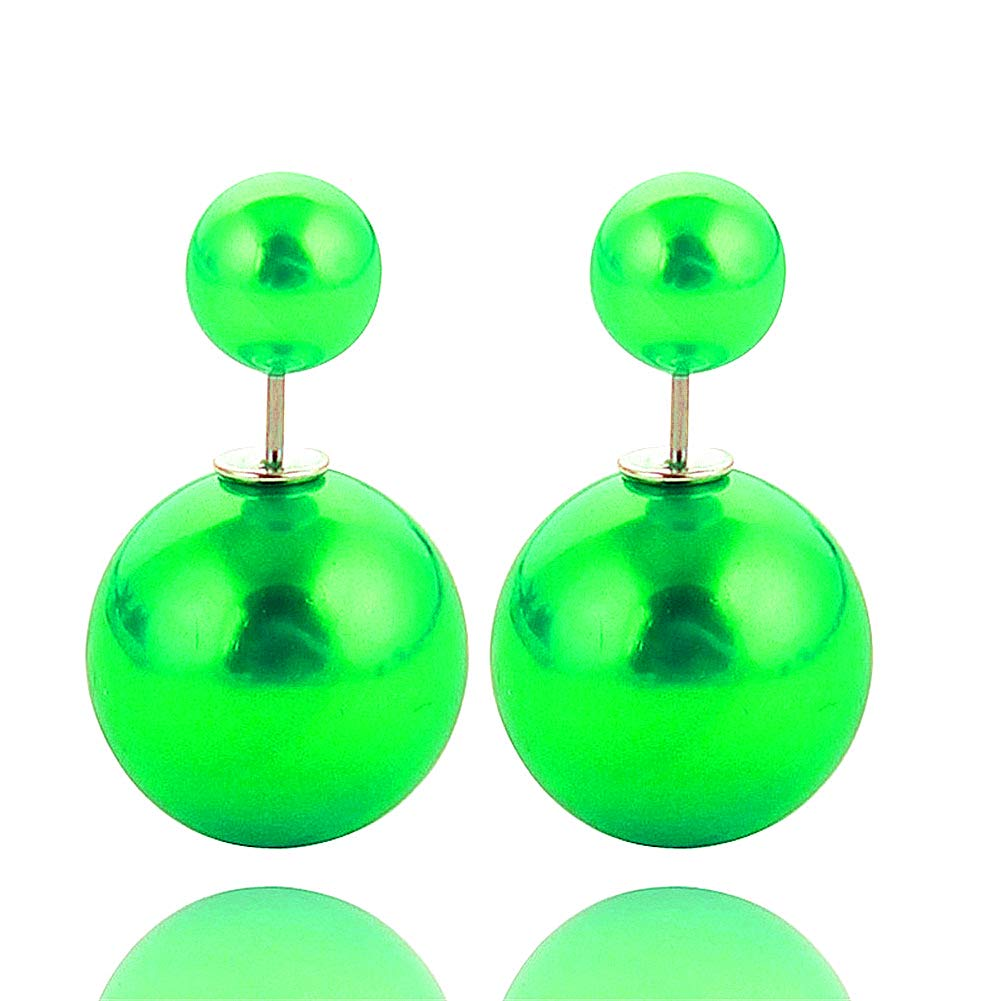 925 Silver Plated Multicolor Pearl double-sided Balls UV Shiny candy stud earrings