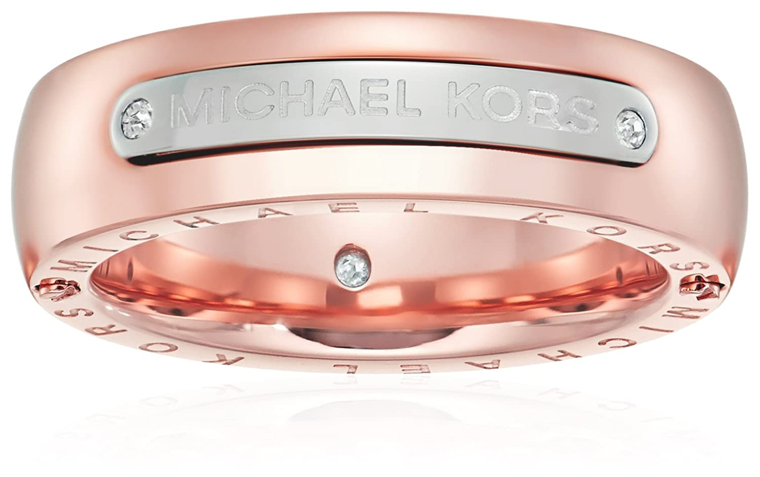 Amazon.com: Michael Kors Womens Tailored Two-Tone Logo Plaque Band ...