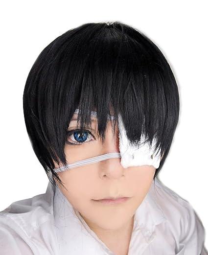 Libre pelo Cap + Tokio Ghoul Ken Kaneki Cosplay peluca disfraz de corto negro peluca