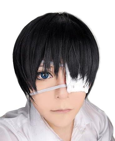 Amazon Com Free Hair Cap Tokyo Ghoul Ken Kaneki Cosplay Wig Black