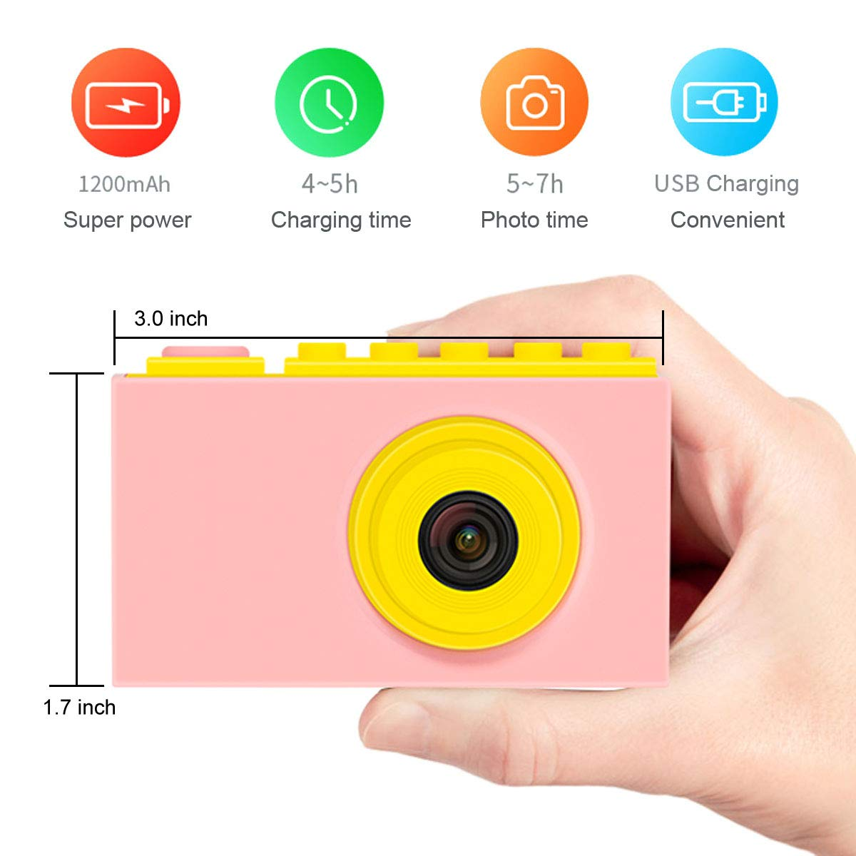MAGENDARA Kids Digital Camera HD 1080P Children Camera with 2.0 Inch Screen Toy Camera for Boys Girls Birthday with Waterproof Case-Pink by MAGENDARA (Image #3)