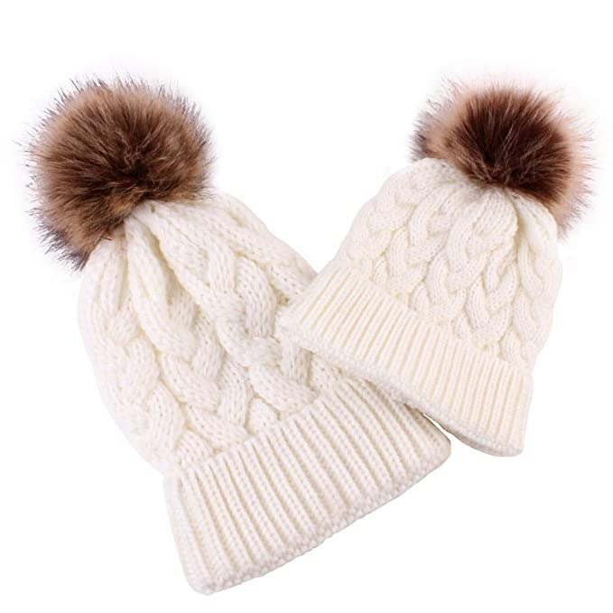 f373af1fd kaiCran 2PCS Parent-Child Hat Warmer, Mommy and Me Cable Knit Winter ...
