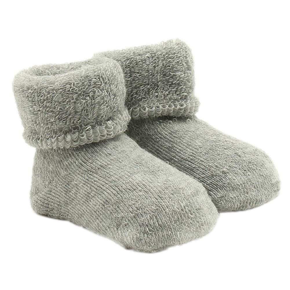 xxiaoTHAWxe Baby Socks, Newborn Baby Boy Girl Infant Toddler Learning Walk Comfortable Winter Socks Grey 0-12Months
