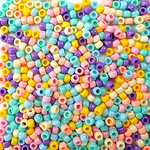 Pretty Pastels Opaque Multicolor Mix Plastic Craft Pony Beads, 6 x 9mm, 1000 Beads ()