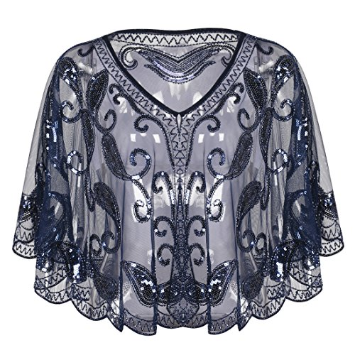 (PrettyGuide Women's Evening Cape 1920s Vintage Cocktail Flapper Beaded Shawl Navy)