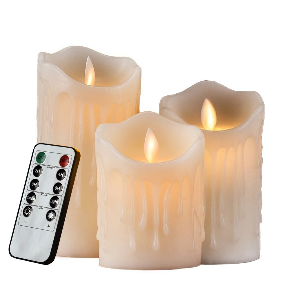 3er Set Flammenlose LED Kerzen Echtwachskerze mit beweglicher Flamme Timerfunktion mit Fernbedienung Elektrische Batteriebetriebene Kerze Lampe Schlafzimmer Wohnzimmer Deko für Hochzeit, Geburtstags, HiChili Bar / Hochzeit Dekorationen / Weihnachtsdekorati