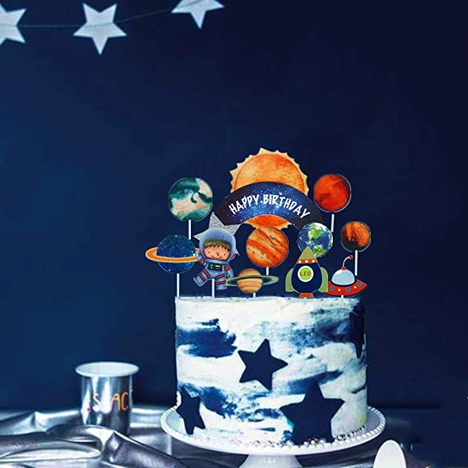 Groovy 27 Pcs Jevenis Solar System Birthday Cake Topper Space Cupcake Funny Birthday Cards Online Elaedamsfinfo