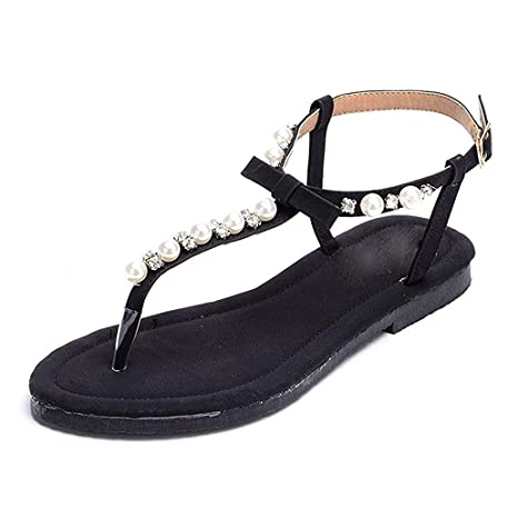 bee9ad234 Amazon.com: York Zhu Women Flat Thong Sandals with T-Strap and Adjustable  Ankle Buckle Comfort: Sports & Outdoors