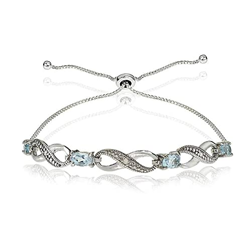 2f199484a Sterling Silver Blue Topaz And Simulated Diamond Accent Infinity Adjustable  Bracelet: Glitzs Jewels: Amazon.ca: Jewelry