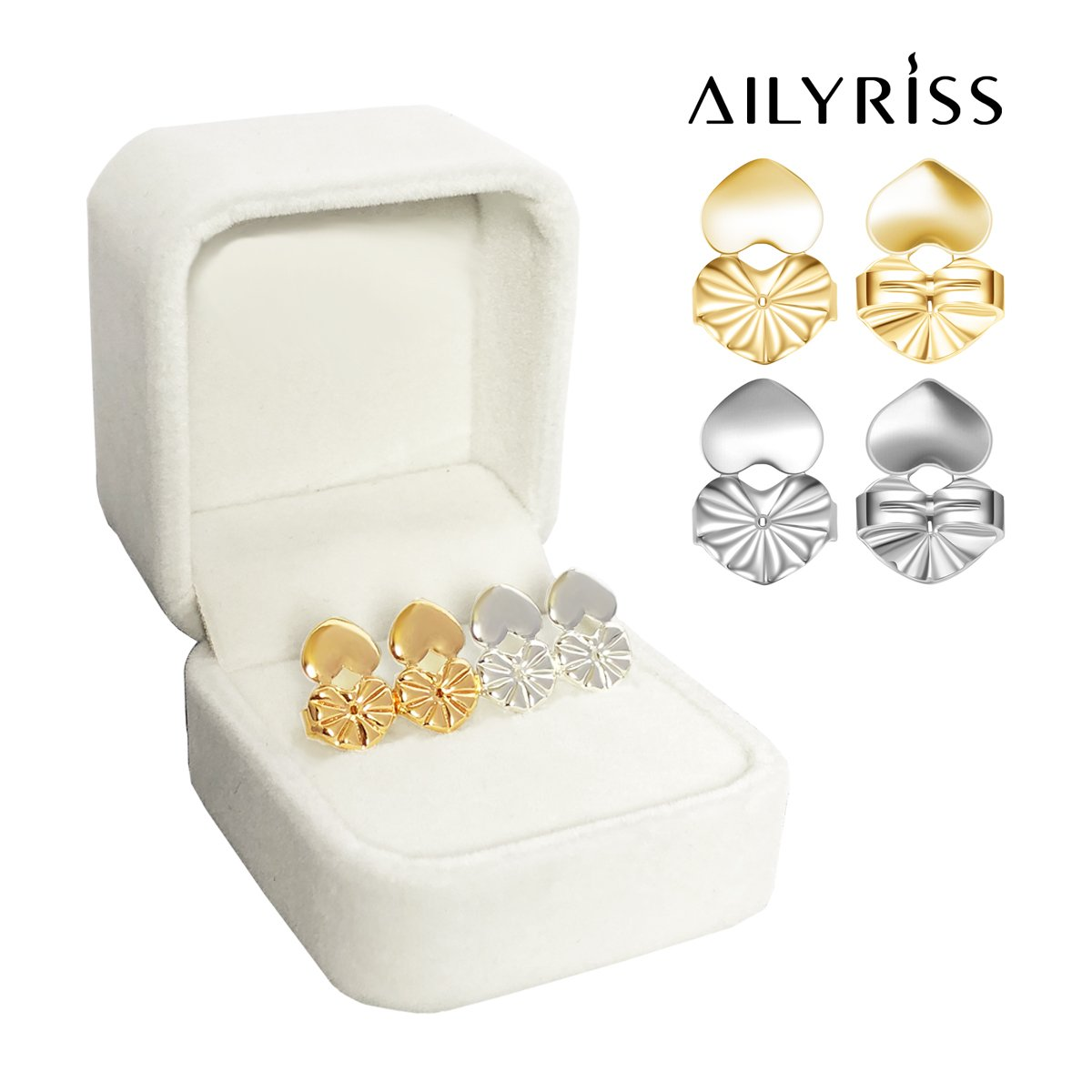 Earring Lifters Earring Lift (1 Pair 18K Gold Plated and 1 Pair Silver Plated) Earring Lifts Hypoallergenic Earring Lifters Back Earrings by AILYRISS (Heart)