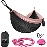 Gold Armour Camping Hammock - XL Double Parachute Hammock (2 Tree Straps 16 LOOPS/10 FT Included) USA Brand Lightweight Nylon Mens Womens Kids, Best Camping Accessories Gear (Gray and Rose)