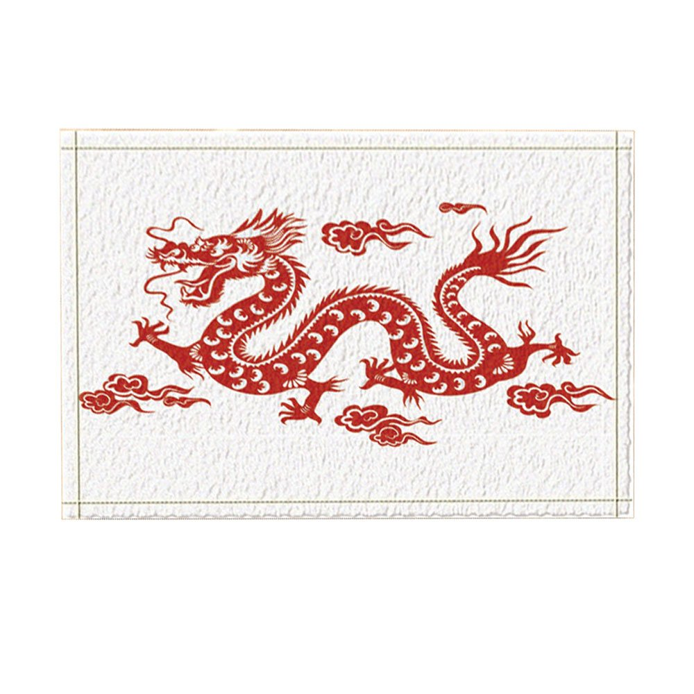 KOTOM Asian Decor, Red Chinese Dragon Against White Backdrop ...