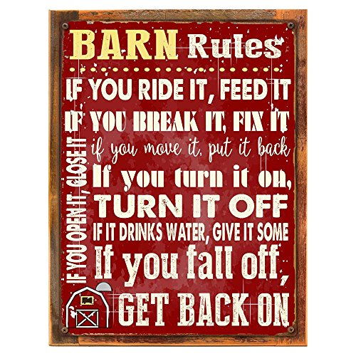 Wood-Framed Barn Rules Metal Sign, Stable, Rustic Décor, Cowboy, Ranch, Horses on reclaimed, rustic wood