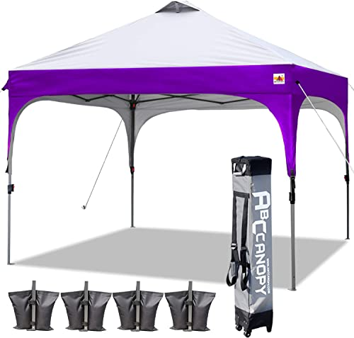 ABCCANOPY Canopy Tent 10×10 Pop Up Canopy Outdoor Canopies Portable Tent Popup Beach Canopy Shade Canopy Tent with Wheeled Backpack Bag Bonus 4Weight Bags, 4Ropes and 4Stakes, Gray and Purple