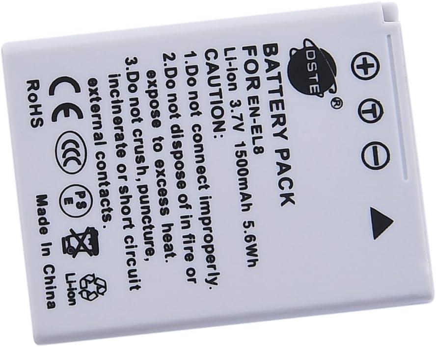 DSTE 2-Pieza Repuesto Bater/ía y DC14E Viaje Cargador kit para Nikon EN-EL8 Coolpix P1 P2 S1 S2 S3 S5 S6 S7 S8 S9 S50 S51 S52 Cool-Station MV-11 MV-121