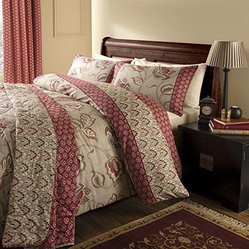 Reversible Quilt Duvet Cover Bedding Set & Pillowcase Kashmir Traditional Red UK Double ()