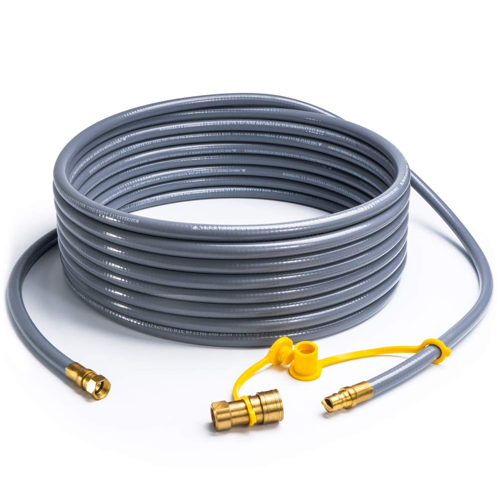 SHINESTAR 36 Feet Natural Gas Hose Extension with 3/8inch Male Flare Quick Connect/Disconnect for BBQ Gas Grill- 50,000 BTU Fits Low Pressure Appliance with 3/8inch Female Flare Fitting-CSA Certified by SHINESTAR