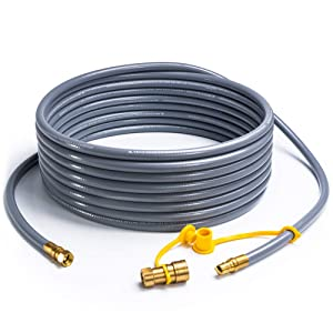 "SHINESTAR 36 feet Natural Gas Hose Extension with 3/8"" Male Flare Quick Connect/Disconnect for BBQ Gas Grill- 50,000 BTU Fits Low Pressure Appliance with 3/8"" Female Flare Fitting-CSA Certified"