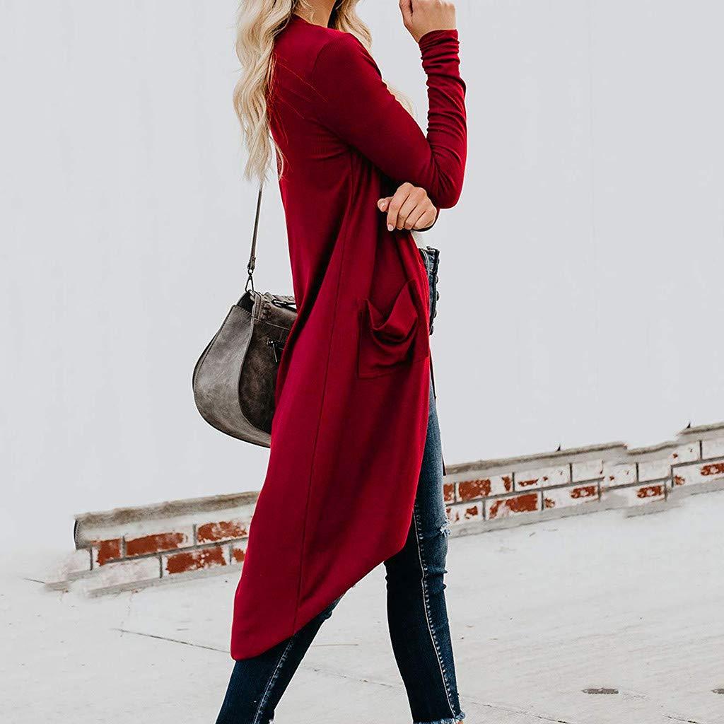 Momoxi Cardigan in Maglia Maglioni del Maglione dei Anteriori Solidi Aperti delle Donne con Le Tasche Superiori Cardigan Lungo da Donna Cappotto Elegante a Giacca in Cotone Leggero Golfino Casual