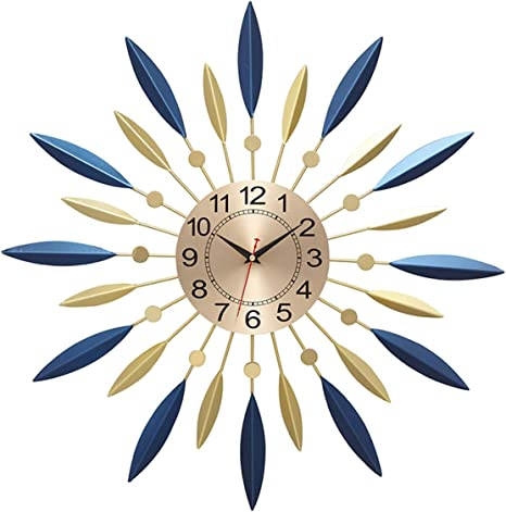 Jx Pep Round Metal Frame Wall Clock Mid Century Metal Wall Clock Wall Decor Large Starburst Decoration For Home Kitchen Living Room Office Home Kitchen