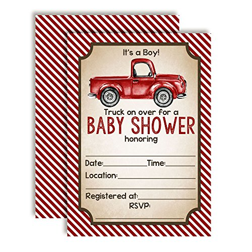 Red Pick Up Truck Baby Shower Invitations for Boys, 20 5