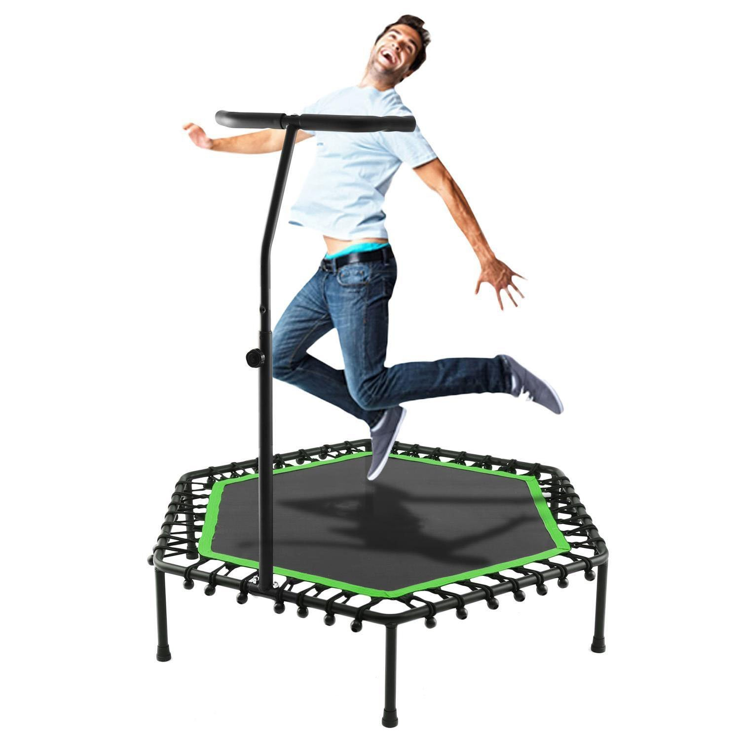 "Vividy Mini Trampoline, 50"" Indoor Safe Fitness Cardio Trampoline Trainer with Adjustable Handrail for Kids Adults Load 220lbs (Green)"