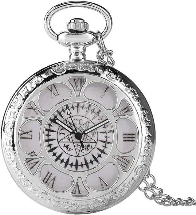 Reloj de Bolsillo Antiguo Kuroshitsuji Negro con diseño mágico Reloj de Bolsillo para Hombres de Cuarzo Casual Reloj de Bolsillo Regalo – dgsdrhs