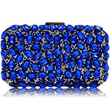 Stunning Rhinestone Party Clutches Cocktail Crossbody Evening Bags For Women Clutch Purse Handbag (Royal Blue)