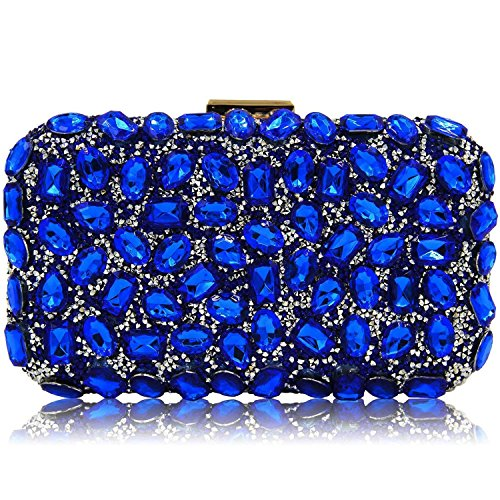 Stunning Rhinestone Party Clutches Cocktail Crossbody Evening Bags For Women Clutch Purse Handbag (Royal Blue) by Mystic River