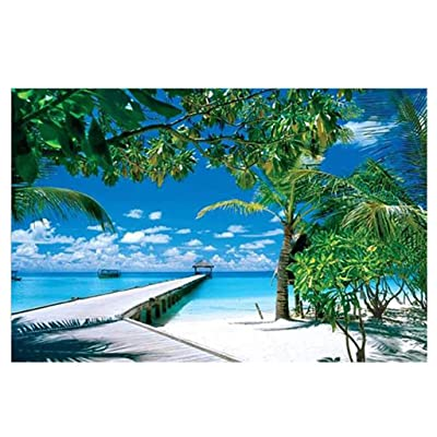 Puzzles for Adults Children's 1000 Piece Puzzle Game Tropical Island Pier Coconut Tree Interesting Toys Landscape Puzzles Work from Home: Toys & Games