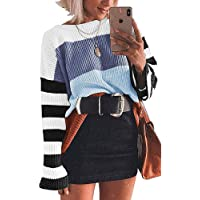 HUAERYOUYUE Womens Casual Crew Neck Color Block Oversized Lightweight Sweater Long Sleeve Knit Pullover Jumper Tops