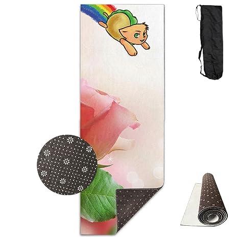 Amazon.com : QNKUqz Rainbow Taco Cat Deluxe Yoga Mat Aerobic ...
