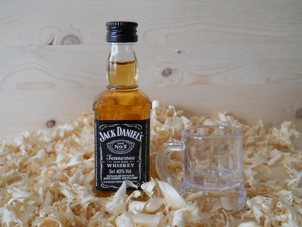 Botellin miniatura Whisky Jack Daniel´s con vastito chupito - Pack de 6 unidades