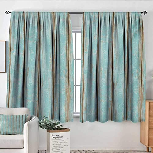 All of better Wood Print Patterned Drape for Glass Door Old Fashioned Weathered Rustic Planks Summer Cottage Beach Coastal Theme Waterproof Window Curtain 72 W x 84 L Pale Blue Tan