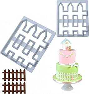 MoldFun 2Pcs Wood Fence Cookie Cutter Plastic Mold for Fondant, Gum Paste, Polymer Clay, Cake Border Decorating