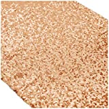 14x120Inch (35cmx300cm)-Rose Gold Sequin Table Runner (Rose Gold)