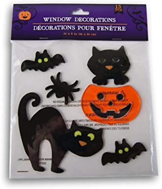 Spooky Town Halloween Gel Window Clings - Black Cats and Jack o Lantern - 15 Piece