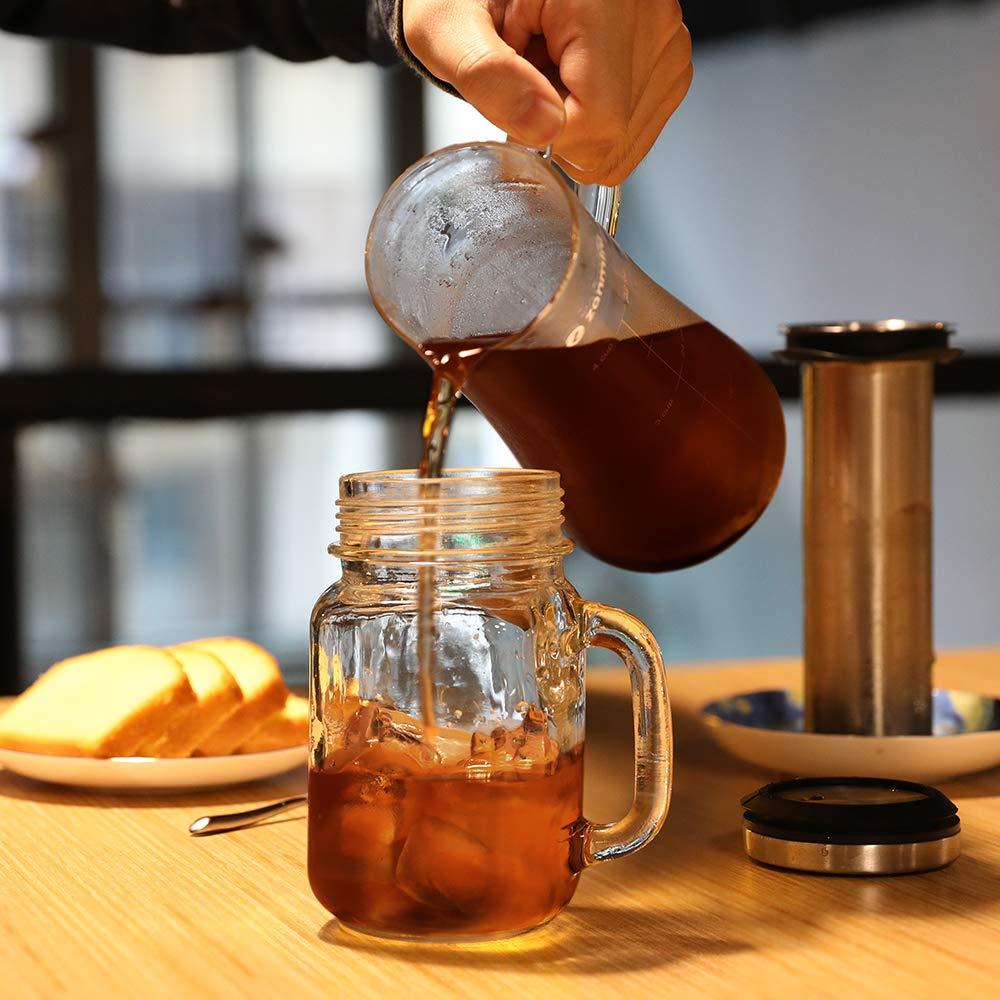 Transparent zanmini cafeti/ère Cold Brew la Bouteille de caf/é Froide 1L /à Infusion de Fruits en Verre Premium et INOX 304 avec Le Filtre /à Maillage Fin pour pr/éparer Le caf/é et Le th/é glac/é