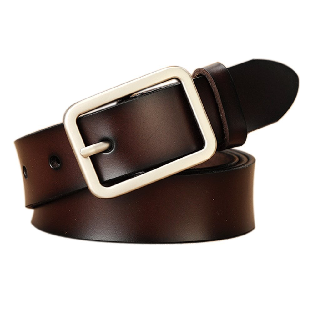 Vonsely Soft Wide Leather Belt for Jeans Shorts, Leather Belt with Metal Buckle (Suit Waistline 37''-41'', Coffee Style2)