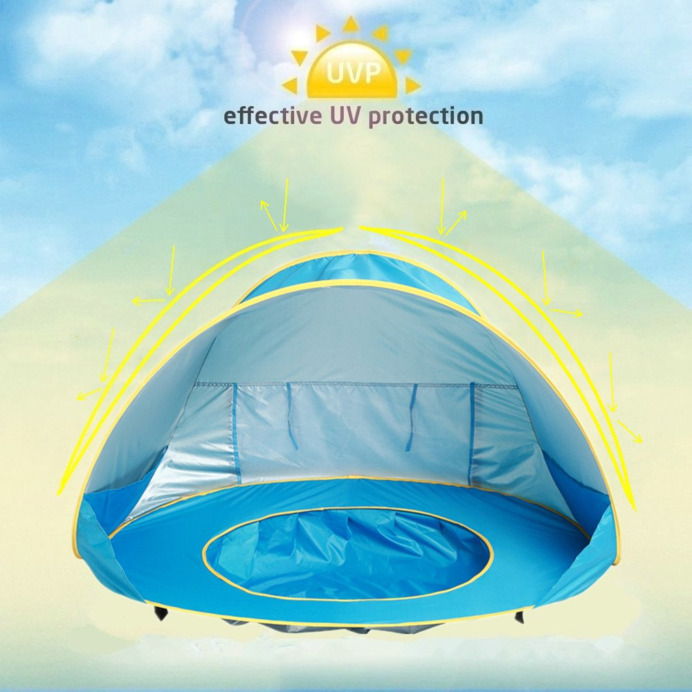 HTKJ Foldable Dog Beach Tent Portable Dog Pet Pop Up Fun Pool with Sun shelter for KidsCollapsible Dog Pet Pool Bathing Tub for Dogs or Cats & HTKJ Foldable Dog Beach Tent Portable Dog Pet Pop Up Fun Pool ...
