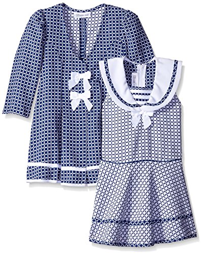 - Bonnie Jean Little Girls Check Jacquard Sailor Dress and Coat Set, Navy, 6