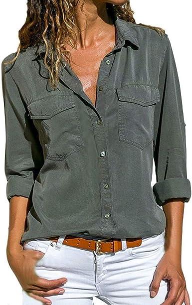 Camisa De Mujer Moda Blusa con Solapa Superior Otoño Sólido ...
