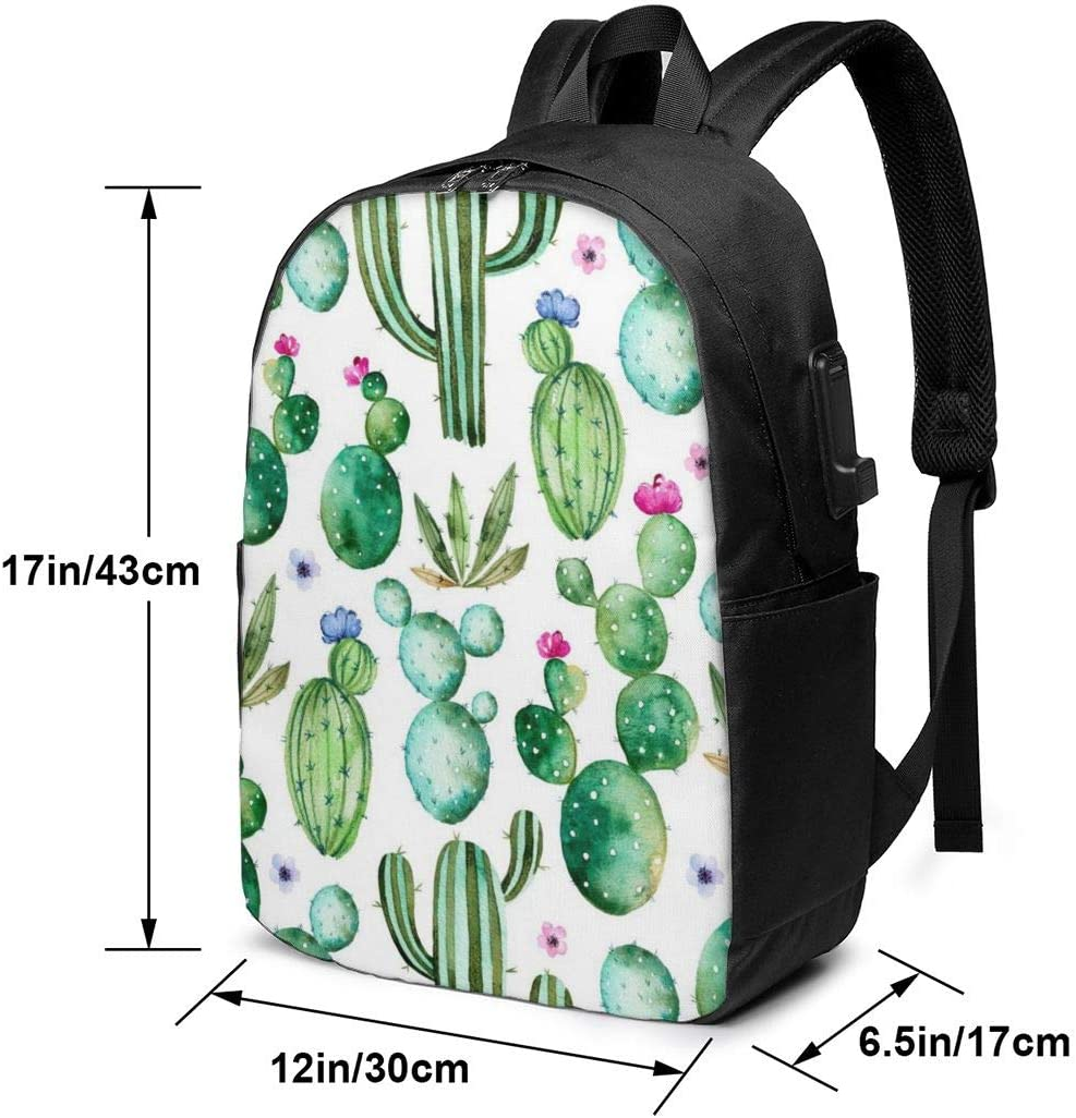 17 Inch Laptop Backpack with USB Charging Port for Men and Women,Hand Painted Watercolor Cactus Plants and Purple Flowers Casual College Travel School Backpack Business Computer Bookbag